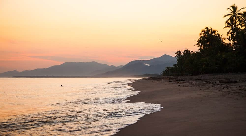 beach at sunset in colombia